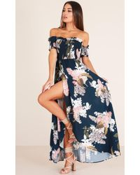 Showpo - Hold On To Me Maxi Dress In Navy Floral - Lyst