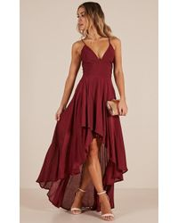 Showpo - Make You Smile Dress In Wine - Lyst