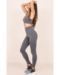 Showpo | The Limits Tights In Charcoal | Lyst