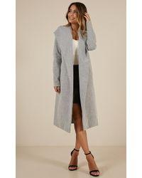 Showpo - New York's Calling Coat In Grey - Lyst
