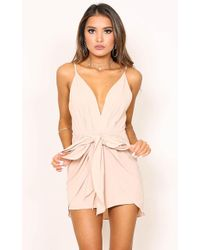 Showpo | Together Again Playsuit In Beige | Lyst