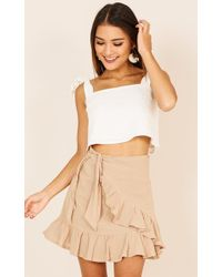 Showpo - Listen Up Skirt In Beige - Lyst