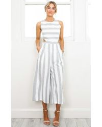 Showpo - Out Dream Yourself Jumpsuit In Grey Stripe - Lyst