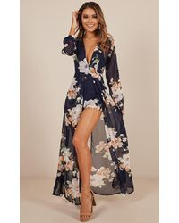 Showpo - Steal The Show Playsuit In Navy Tropical Floral - Lyst