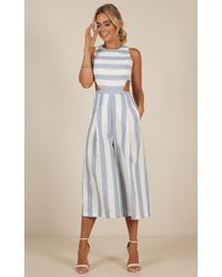 Showpo - Out Dream Yourself Jumpsuit In Blue Stripe - Lyst