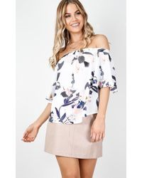 Showpo - One Last Time Top In White Print - Lyst