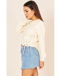 Showpo | City Of Angels Sweater In Cream | Lyst