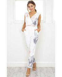 Showpo - Breakin Hearts Jumpsuit In White Floral - Lyst
