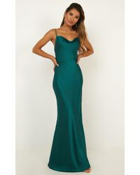 Showpo - Run Deep Dress In Emerald Satin - Lyst