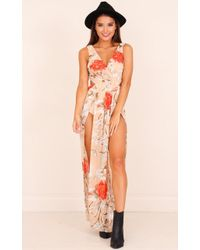 Showpo - Give You Up Dress In Beige Floral - Lyst