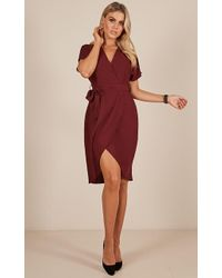 Showpo - All Shook Up Dress In Wine - Lyst