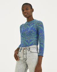 Aries - Blue Animal Print Long Sleeve Top - Lyst