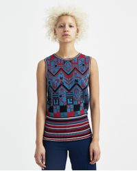 Sadie Williams - Multi Color Jacquard Sleeveless Top - Lyst