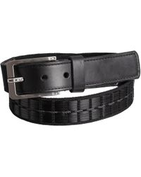 Lejon - Basket Stitch Leather Belt With Rectangle Buckle (for Men) - Lyst