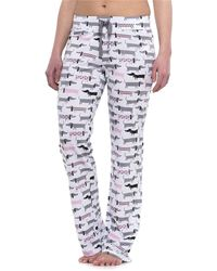 Cynthia Rowley Sleepwear Weiner Dog Cotton Twill Drawstring Pants (for Women) - Gray