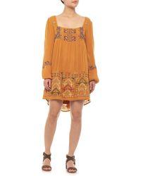 8c28ba41fe6 Free People - Mustard Rhiannon Embroidered Mini Dress - Lyst