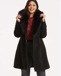Simply Be - Wool Coat With Fur Trim Lapel - Lyst