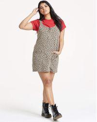New Look Dark Grey Leopard Print Denim Pinafore Dress in Gray - Lyst 5038ceea7