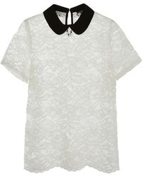 Simply Be - Contrast Collar Lace Top - Lyst