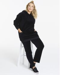 Simply Be - Velour Longline Hoodie With Long Sleeves - Lyst