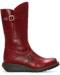 Fly London - Leather Low Wedge Calf Boots - Lyst