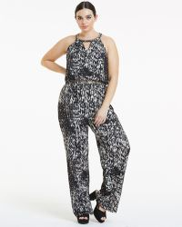 9e86968ada6d Lyst - Hope and Ivy Hope   Ivy Floral Open Back Jumpsuit in Black