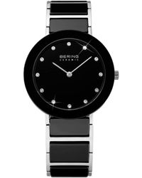 Bering - Ladies Black & Ss Bracelet Watch - Lyst