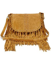 Simply Be Tan Suede Fringed Shoulder Bag tS38ShS