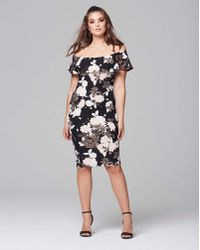 AX Paris - Floral Bardot Midi Dress - Lyst