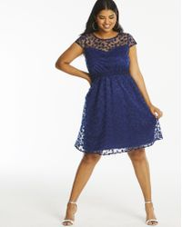 Simply Be - Lovedrobe Lace Skater Dress - Lyst