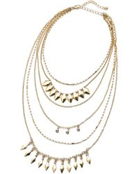 Simply Be - Leaf And Rhinestone Necklace - Lyst