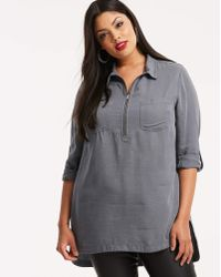 Simply Be - Zipper Front Soft Lyocell Denim Tunic - Lyst