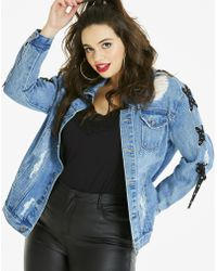 db7a5e83140de Lyst - Simply Be Glamorous Curve Ripped Pearl Jacket in Blue