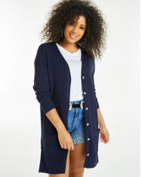 Simply Be - Longline Rib Cardigan With Splits - Lyst