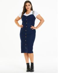 Simply Be - Jersey Denim Button Front Midi Dress - Lyst