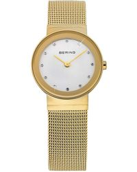 Bering - Ladies Gold Mesh Bracelet Watch - Lyst