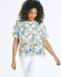 b3ca9454ace897 Lyst - Oasis Multi Coloured  fitzwilliam  Linen Look Shell Top