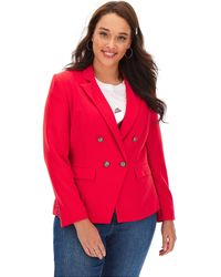 Simply Be Premium Stretch Coral Trophy Blazer - Red