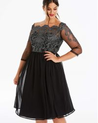 9754853bd9c Mela Black Lace And Tulle Skirt Prom Dress in Black - Lyst
