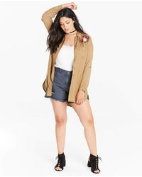 Simply Be - Olive Oversized Shirt With Embroidery - Lyst