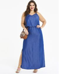 407c3e404f970 Simply Be - Soft Lyocell Denim Layer Maxi Dress - Lyst