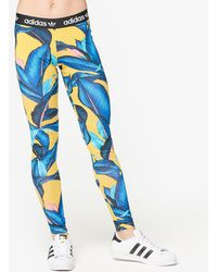 6e2fdd96d1b adidas Originals Originals Farm 3 Stripe Leggings In Banana Print ...