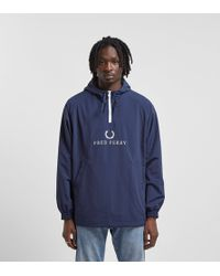 Fred Perry - Embroidered Half Zip Jacket - Lyst