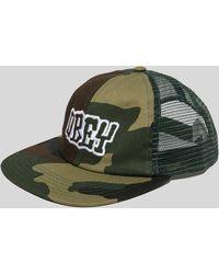 Obey - Runnin Camo Trucker Cap - Lyst