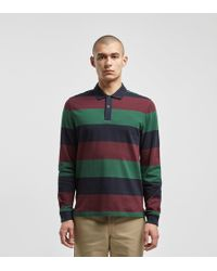Fred Perry - Large Stripe Long Sleeve Polo Shirt - Lyst
