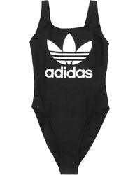 90b79a1ed091 Lyst - adidas Originals 3-stripes Trefoil Swimsuit in Black