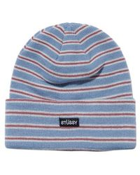 0a48b489 Stussy Tribe Striped Cuff Beanie Hat for Men - Lyst