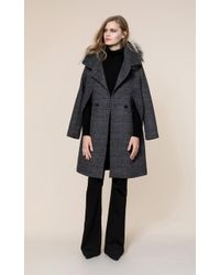 SOIA & KYO - Soia&kyo - Kimi-fx Prince De Galles Jacket And Cape With Removable Fur - Lyst