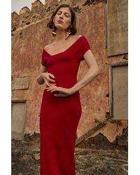 Solace London - Cierra Dress Dark Red - Lyst