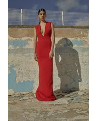 Solace London - Ophelie Maxi Dress Dark Red - Lyst